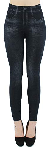 dy_mode Damen Thermo Leggings Thermohose mit Innenfutter - WL027 (40/42 - L/XL, WL082-NachtblauSchwarz)