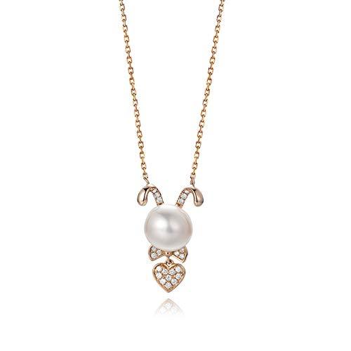 Daesar 18K Oro Rosa Collana Donna 0.114ct Coniglio Bianco A Forma di Perla con Diamante Intarsiato Rotonda Collana Ciondolo Donnacollana Ragazza Amicizia