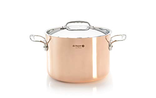 PRIMA MATERA Round Copper Stainless Steel High Stewpan 9.5-Inch with lid