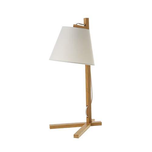 Lámpara de mesa pantalla de bambú beige de 27x20x50cm