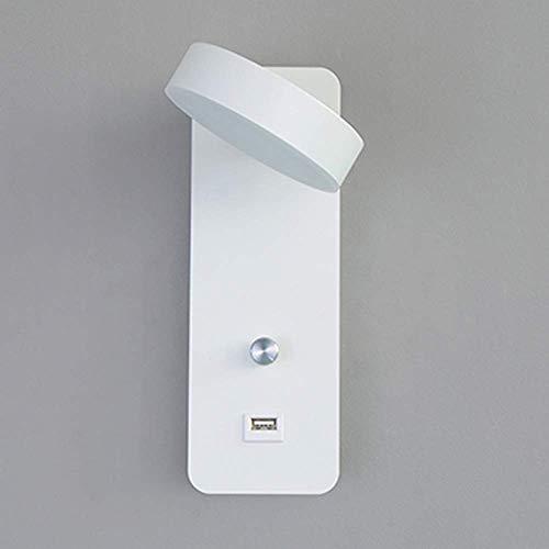 GYPPG Lámpara de Pared con Interruptor Lámpara de Pared Interior de cabecera LED Regulable 350 & deg;Luz de Lectura con protección Ocular giratoria con Puerto de Carga USB para Dormitorio Sala de