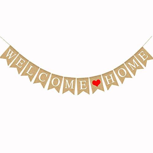 Ouinne 2.8M Willkommen zu Hause Wimpel Hessischen Girlande Wimpeln für Haus Dekoration Familie Partei Lieferungen (Welcome Home)