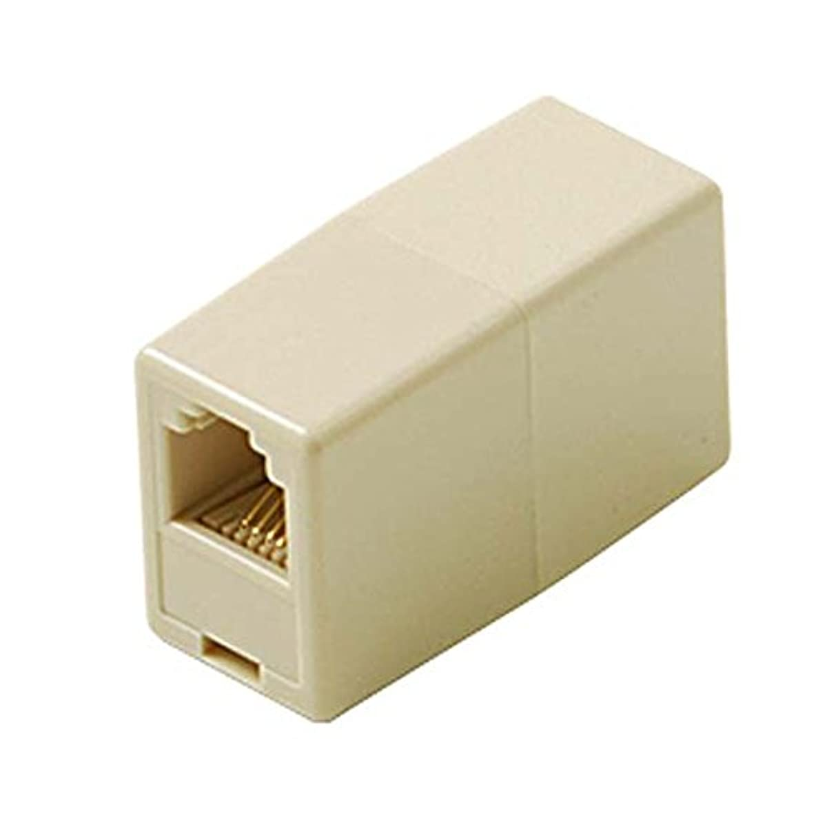 Phone In-Line Cable RJ11 Coupler White Female Modular Telephone Jack Cord Add-On Snap Plug Extension and Splice Connection, Fax Adapter
