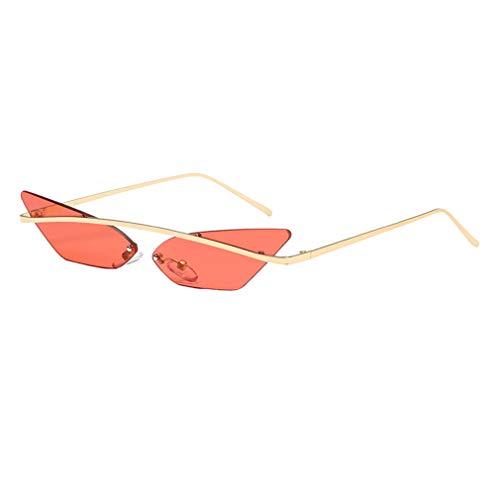 Yying Rimless Cateye Gafas de sol Mujer Metal Espejo Vintage Ocean Color Lente Rojo Púrpura Gafas Gafas de sol