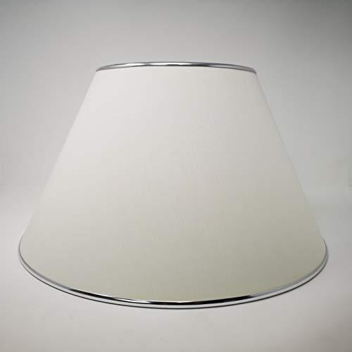 Lampenschirm Textilschirm weiß Stehlampe konischer Stoffschirm mit Metallrand Chrom
