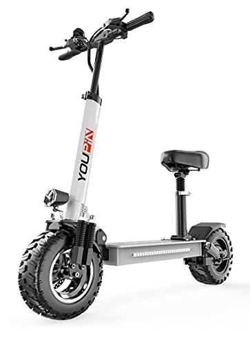 Scooters elétricos, scooters elétricos para adultos com resistência de motor de 500 W de 70 KM, scooters elétricos adultos com sistemas de freio duplo, scooters elétricos dobráveis off-road com pneus sólidos de 25,4 cm (branco)