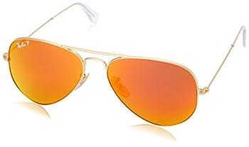Ray-Ban RB3025 Classic Aviator Sunglasses Matte Gold/Brown/Orange Mirror Polarized 58 mm