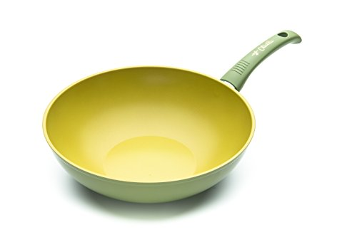 ILLA OL9728 Wok Antihaftbeschichtung mit Olivenöl, 100% Made in Italy, Aluminium, Grün, 28 cm