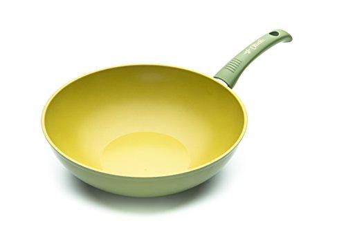 ILLA ol9728Wok antihaft in Olivenöl 100% Made in Italy, Aluminium, Olivgrün