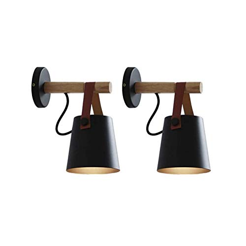 2-Pack Nordic Style Wall Lamp,Led Remote Control Battery Operated Indoor Wireless Black Wall Sconce Light Fixture for Bedroom Loft Aisle Restaurant ( Color : Black )