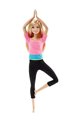 Barbie Bambola Snodata, 22 Punti Snodabili per Tanti Movimenti, Top Rosa/Azzuro, DHL82
