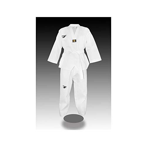 Dorawon Club - Collo Bianco Dobok Uniforme Taekwondo, da Bambino, Bambini, Z20Z2Club675, Bianco, 100 cm