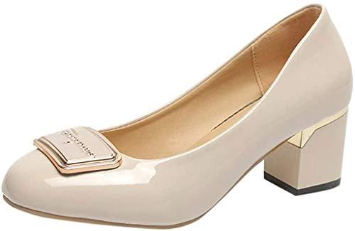 Klassischer Pumps Damen Basic Flandell Mittelhohe Elegante Schuhe Frühling Absatzschuhe Celucke (Grau, EU40)