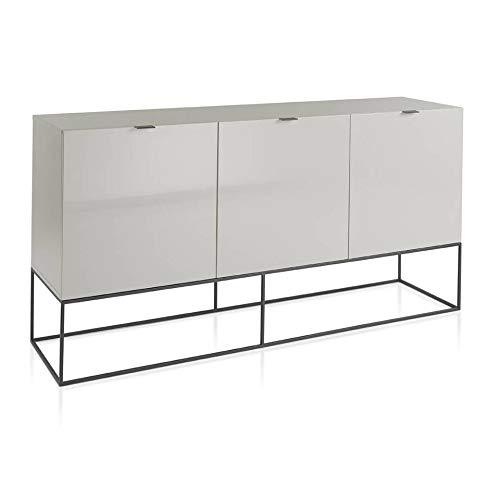 Angel Cerda | Sideboard aus Holz lackiert, Perlgrau glänzend, mit drei Doppeltüren, Verzögerungs-System, Griffe und Beine aus Stahl, Schwarz, moderner Stil