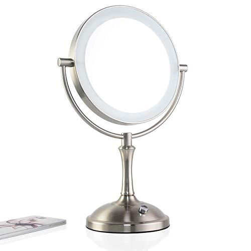 JieMiTe Specchio per Il Trucco da 8 Pollici da Tavolo con 2 specchi in Metallo 3X 5X Zoom 10X nella Luce LED per Regolare la luminosità-Brushed_Nickel_10X
