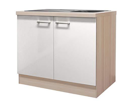 MMR Küchen-Spülenschrank DERRY - Spülenunterschrank - mit Spüle - 2-türig - Breite 100 cm - Perlmutt Weiß