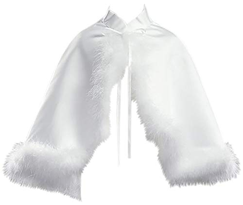 Dreamer P Little Girls Satin Cape Feathers Bolero Jacket Cover Shrug Sweater Christmas White S (L10T33)