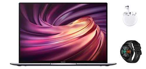 HUAWEI MateBook X Pro 2020 13,9 Zoll 3K-FullView-Touchscreen Notebook, 10th Gen Intel i7, 16 GB RAM, 1 TB SSD, GeForce MX250, Fingerabdrucksensor, Win 10 – grau + Watch GT 2e & Freebuds 3