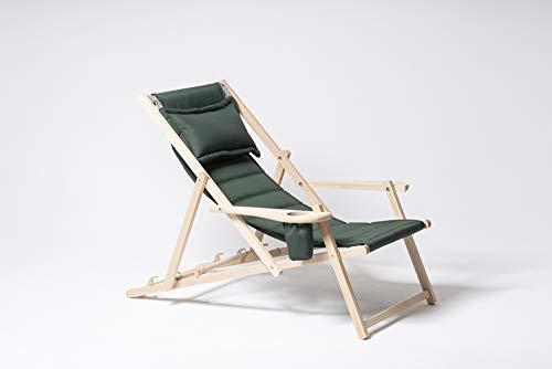 MyDeer Holz Liegestuhl klappbar, Lounge Sessel mit Kissen, Sonnenliege für Garten, Balkon, Camping, Klappstuhl mit Armlehne & Getränkehalter, Modern Gartenstuhl, Relaxliege, Grün Stuhl
