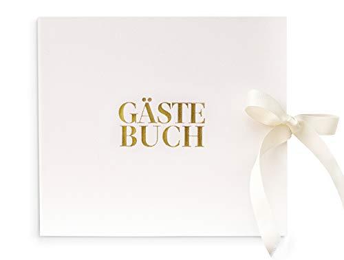 Leder Design Gästebuch | Edles Cover modern weiß | Hochwertige Gold Folie Schrift Veredelung | 84...