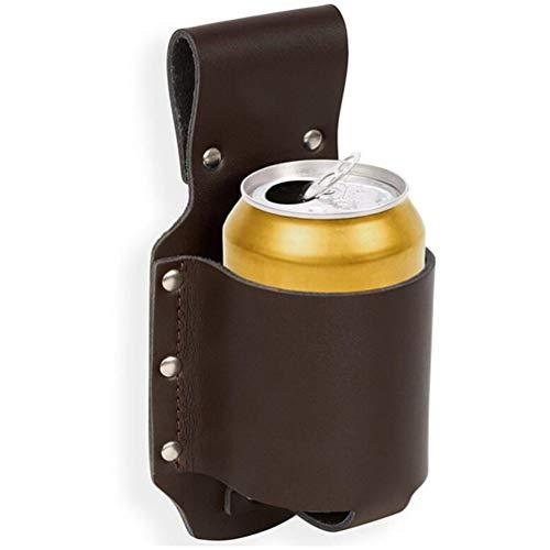 UPKOCH Flaschenhalter PU Leder Metall Bierholster Tragbare Getränke Bier Halter Wasserdicht Einstellbar Biergürtel für Flaschen Dosen Barbecue Party Cowboy (Braun)