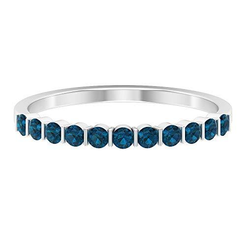 Anillo de boda único para novia, anillo redondo de topacio azul Londres de 1/2 quilate, anillo de eternidad, anillo de desgaste de fiesta, anillo de eternidad apilable, oro de 10 quilates azul