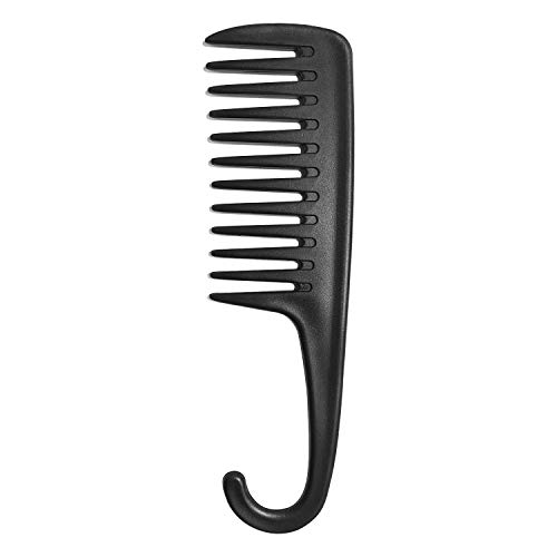 Wapodeai Wide Tooth Comb Shower Comb With Hook, Good for Curly Hair Wet Dry, Premium Tangle Free Combs Black.