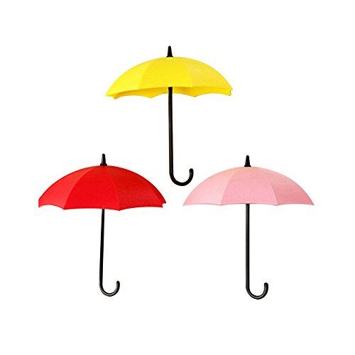 Zhouba - Lot de 3 crochets muraux colorés - style Parapluie - Organiseurs décoratifs à suspendre Taille unique Red + Pink + Yellow
