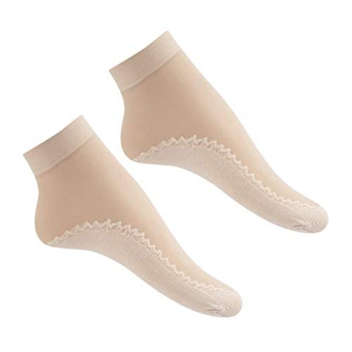 Milageto 20x Calcetines de Verano de Seda Lady Super Thin Sheer Calcetines Antideslizantes Elásticos Transpirables - Piel normal, unico