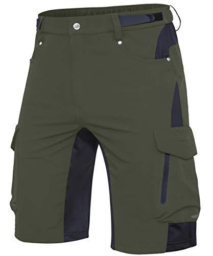 Cycorld MTB Hose Herren Fahrradhose, Schnelltrocknende MTB Shorts Herren Mountainbike Hose Baggy Bike Shorts, Atmungsaktiv Radhose mit Verstellbaren Klettverschlüssen (Neu-Grün, L)