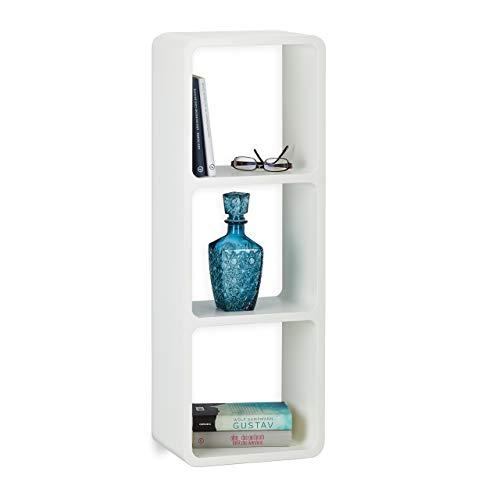 Relaxdays Wandregal mit 3 Fächern, offenes Schweberegal oder Standregal, 3 Cubes für Deko, CDs, Bücher, 90x30 cm, weiß