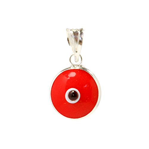 Red Authentic 925 Sterling Silver 10 MM Round Glass Evil Eye Charm Turkish Protection Pendant - DIY