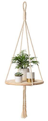 Mkono Wood Hanging Shelf Indoor Macrame Plant Hanger Decorative Flower Pot Holder Boho Home Deco, 40