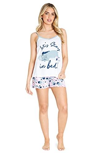 Disney Schlafanzug Damen Kurz, Eeyore Pyjama Damen Kurz, Nachtwäsche Damen, XS-XL (Weiß/Rosa, M)