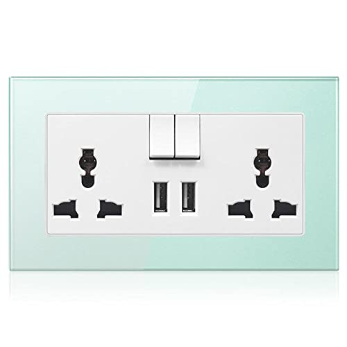 Socket de pared DUAL UNIVERSAL 3 Agujero Toma de corriente con panel de vidrio templado Decoración del hogar ACCESORIOS DE ACCESORIOS CON USB-Verde_110-250v