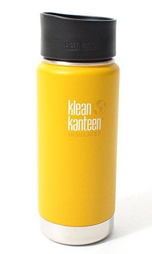 Klean Kanteen Erwachsene Wide Vakuumisoliert mit Cafe Cap 2.0 Trinkflasche, Lemon Curry Matt, M