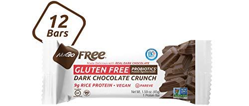 NuGo Free Dark Chocolate Crunch, 9g Vegan Protein, Probiotics, Gluten Free, Soy Free, 170 Calories, 12 Count