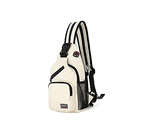 Mochila de hombro resistente al agua antirrobo hombres mujeres Sling pecho Crossbody bolsa paquete de cubierta mochila bicicleta deporte viaje senderismo, beige, Talla única