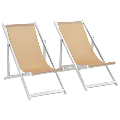 Fesjoy Sdraio da Giardino Lettino Sedie da Spiaggia Pieghevoli Sedie a Sdraio Garden Beach Sedie da Campeggio Esterne Regolabili da 2 Pezzi Lettino Telaio in Alluminio Superficie di textilene Crema