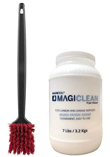 """Deep Fryer Cleaning Kit - Magiclean Deep Fryer Boil Out Powder, Removes Carbon and Grease Buildup - High Heat Fryer Cleaning Brush, Professional 20"""" Long Cleaning Brush, Withstands Heat up to 425F"""