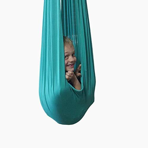 Yeloong Therapieschaukel Kinder, Kinder Hängematte Baby therapeutische Schaukel SI-schaukel elastische Kuschel-Hängematte für Autismus, ADHS, Asperger (1 Meter, Grün)