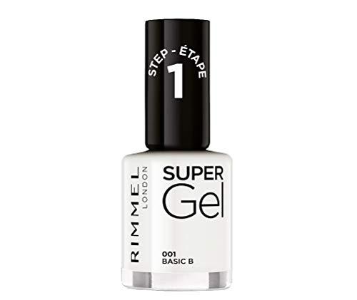 Rimmel London Smalto Unghie Super Gel, Nail Polish Effetto Gel a Lunga Durata, 001 Basic B, 12 ml