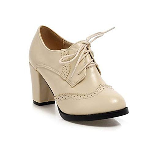 MIOKE Women's Lace Up Wingtip Oxford Pump Vintage Perforated Chunky Platform High Heel Brogues Dress Shoes Beige
