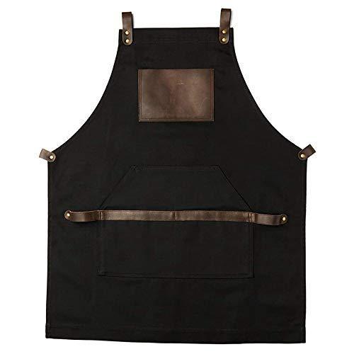 Yongenee En el delantal del trabajo for no encerado de la lona con correas cruzadas ajustable for la mayoría de las tallas de cintura for servicio pesado de los hombres de la vendimia de las mujeres d