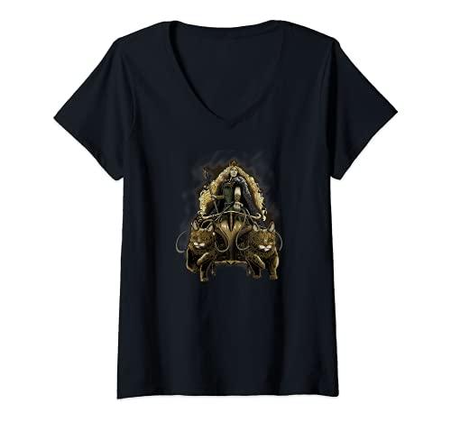 Mujer Freya - Medieval Viking Mythology - Norse Paganism Asatru Camiseta Cuello V