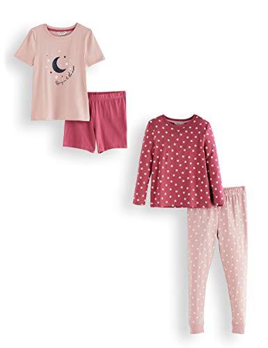 Amazon-Marke: RED WAGON Mädchen Pyjama-Set aus Baumwolle, 2er-Pack, Mehrfarbig (Star), 104, Label:4 Years