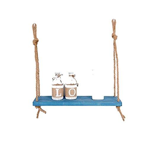 WWWANG Vintage Style LOFT Wood Plank van de Muur met hennep touw Planken Wall Opknoping Bookshelf opslag Rack wanddecoraties Ontwerp Blauw (Size : 1 Tiers)