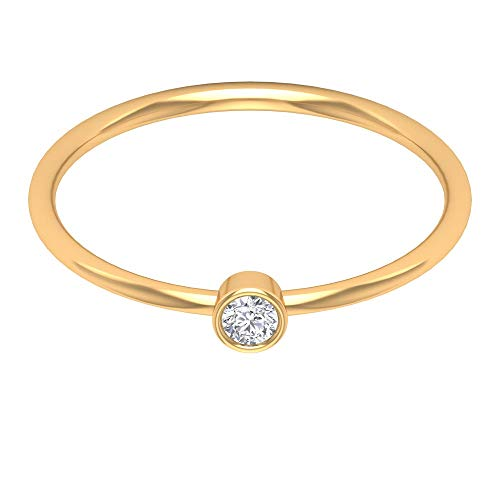 Classic Single Stone Ring, 2.50 MM Round Shaped HI-SI Diamond, Gold Solitaire Ring, Stackable Jewelry Collection, Unique Promise Ring, Gift for Her, 18K Yellow Gold, Size:UK P