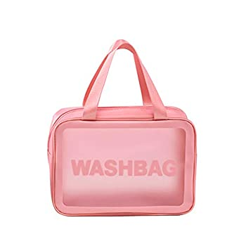 Yuhemin Clear Cosmetic Bag Travel Toiletry Bag for Women and Men Waterproof Toiletry Organizer Large Capacity Makeup Pouch for Traveling Bathroom Gym Pink