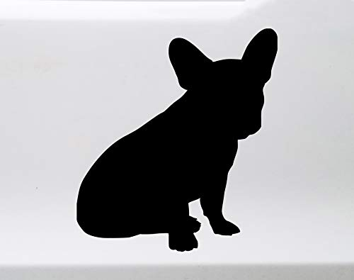 Minglewood Trading Grey - French Bulldog Sitting Vinyl Decal - Frenchie Love Dog Puppy - Die Cut Sticker - 3.5w x 4h inches
